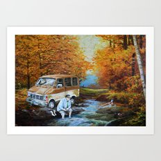 Living in a Van, Down by the River Art Print