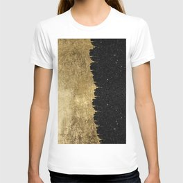 Faux Gold & Black Starry Night Brushstrokes T-shirt