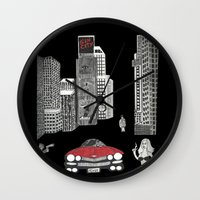 sin city Wall Clocks featuring sin city by Carmit Levy