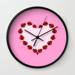 Lady Bug Heart Wall Clock