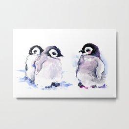 Penguins, penguin design baby penguin art, children gift Metal Print