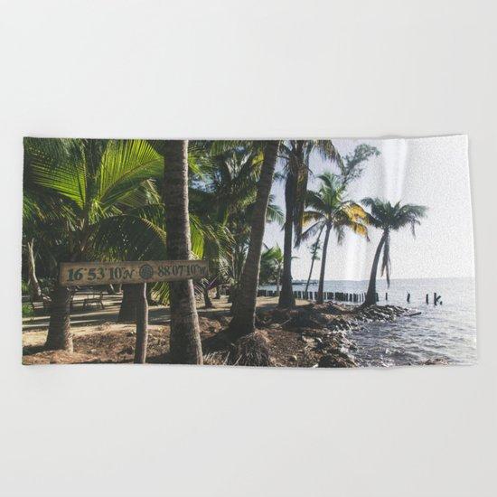 "16°53'10""N x 88°07'10""W Beach Towel"