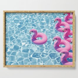 Be a Flamingo in a Flock of Pigeons Serving Tray