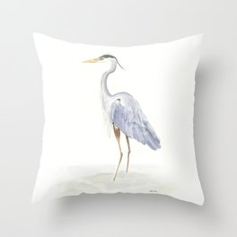 Heron Facing Left Throw Pillow
