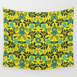 Bright Yellow, Red, Turquoise & Navy Blue Floral Pattern Wall Tapestry