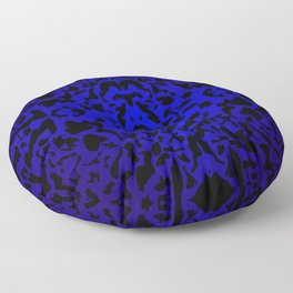 Openwork ornament of blue spots and velvet blots on black. Floor Pillow
