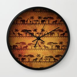 African Animal Pattern Wall Clock