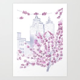 Cherry Blossom Tree Spring in New York City NYC Gathering of Lines Art Print