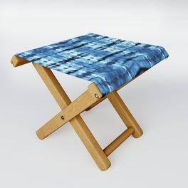 Indigo Satin Shibori Folding Stool