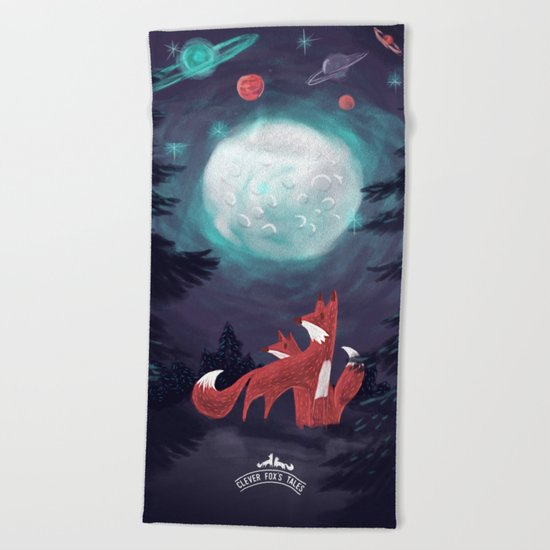 Clever Fox's Tales about the Universe Beach Towel