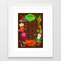 calender Framed Art Prints featuring Veggie Calender 2016-brown by Elisandra