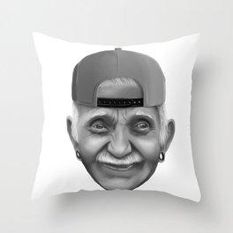 Oldman snapback Throw Pillow