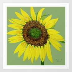 Sunflower painted  Art Print