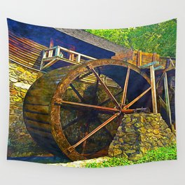 Gristmill Water Wheel Wall Tapestry