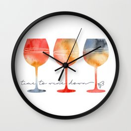 Time to Wine Down Watercolour Wall Clock