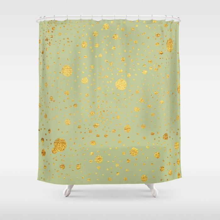 Gold leaf hand drawn dot pattern on light green Shower Curtain by ...