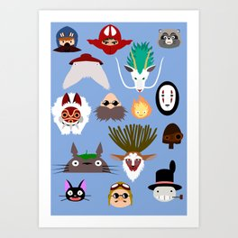 The many faces of Ghibli Art Print