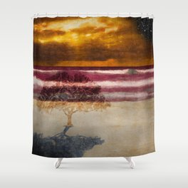 Fool standing at the beach starring at starry sky (Heinrich Heine) Shower Curtain