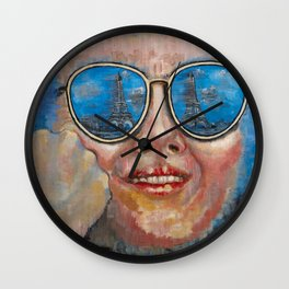Paris in glasses Wall Clock