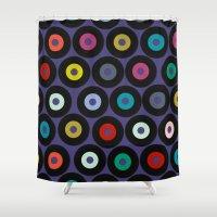 vinyl Shower Curtains featuring VINYL VIOLET by Sharon Turner