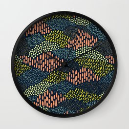 Dashes and dots // abstract pattern Wall Clock