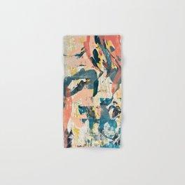 033.2: a vibrant abstract design in pink blue yellow an black Alyssa Hamilton Art Hand & Bath Towel