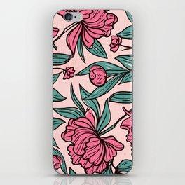 Floral Obsession (pink peonies vintage flowers pattern) iPhone Skin