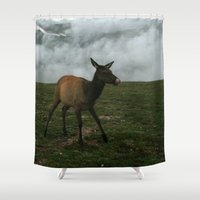 elk Shower Curtains featuring Baby Elk by Andrea Jean Clausen - andreajeanco