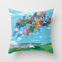 plane Throw Pillows featuring Plane Without Plane by Valeriya Volkova