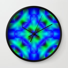 Bright pattern of blurry light blue and green flowers in a bright kaleidoscope. Wall Clock