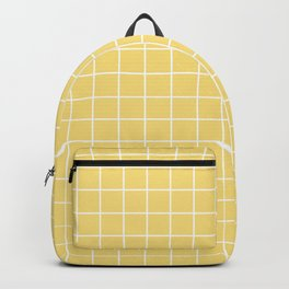 Mellow yellow - pink color - White Lines Grid Pattern Backpack