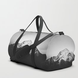 Black and white snowy mountain Duffle Bag