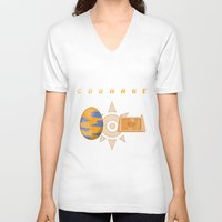 digimon V-neck T-shirts featuring Digimon: Courage by Deco-kun