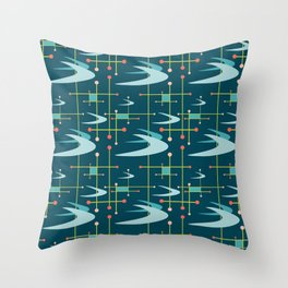Mid Century Modern Boomerangs in Blues Throw Pillow