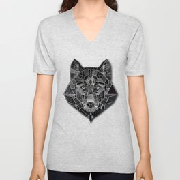 Abstract geometric mosaic wolf head collage of black textures Unisex V-Neck