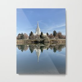 Idaho Falls Temple - Reflection In The River Metal Print