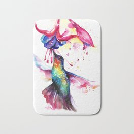 Rainbow Hummingbird in Flowers with Nectar Bath Mat