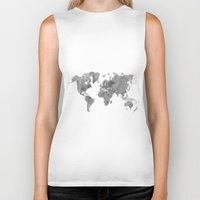 vintage map Biker Tanks featuring World Map Black Vintage by City Art Posters