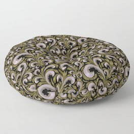 Intricate Victorian Scroll Pattern With Deep Purples and Greens Floor Pillow