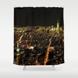 New York City Skyscraper Skyline Landscape Painting by Jeanpaul Ferro Shower Curtain