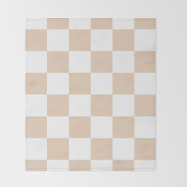 Large Checkered - White and Pastel Brown Throw Blanket