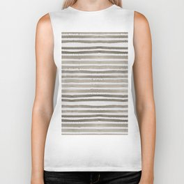 Simply Shibori Stripes Earth Brown on Lunar Gray Biker Tank