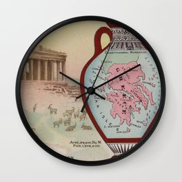 Vintage Map of Greece with Illustrations (1890) Wall Clock