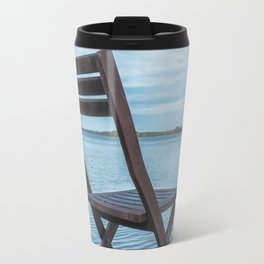 Pier with bench, place for recreation and fishing. Travel Mug
