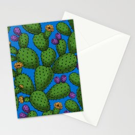 Flowering opuntia on blue Stationery Cards