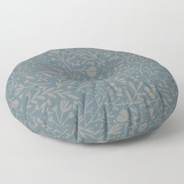 Scattered Flowers, Putty and Teal Blue Floor Pillow