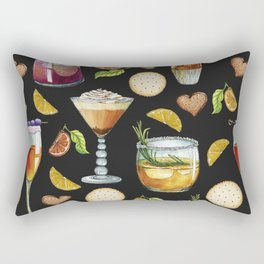 Cocktail and Biscuit Pattern Black Background Rectangular Pillow
