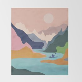 River Canyon Kayaking Throw Blanket