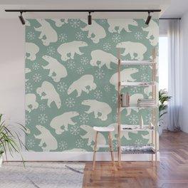 Merry Christmas - Polar bear - Animal pattern Wall Mural