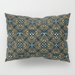 black design shapes ornate on a yellow background Pillow Sham